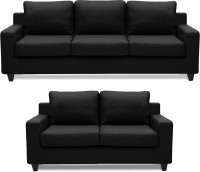 Dolphin Oxford Leatherette 3 + 2 Black Sofa Set(Configuration - Straight)