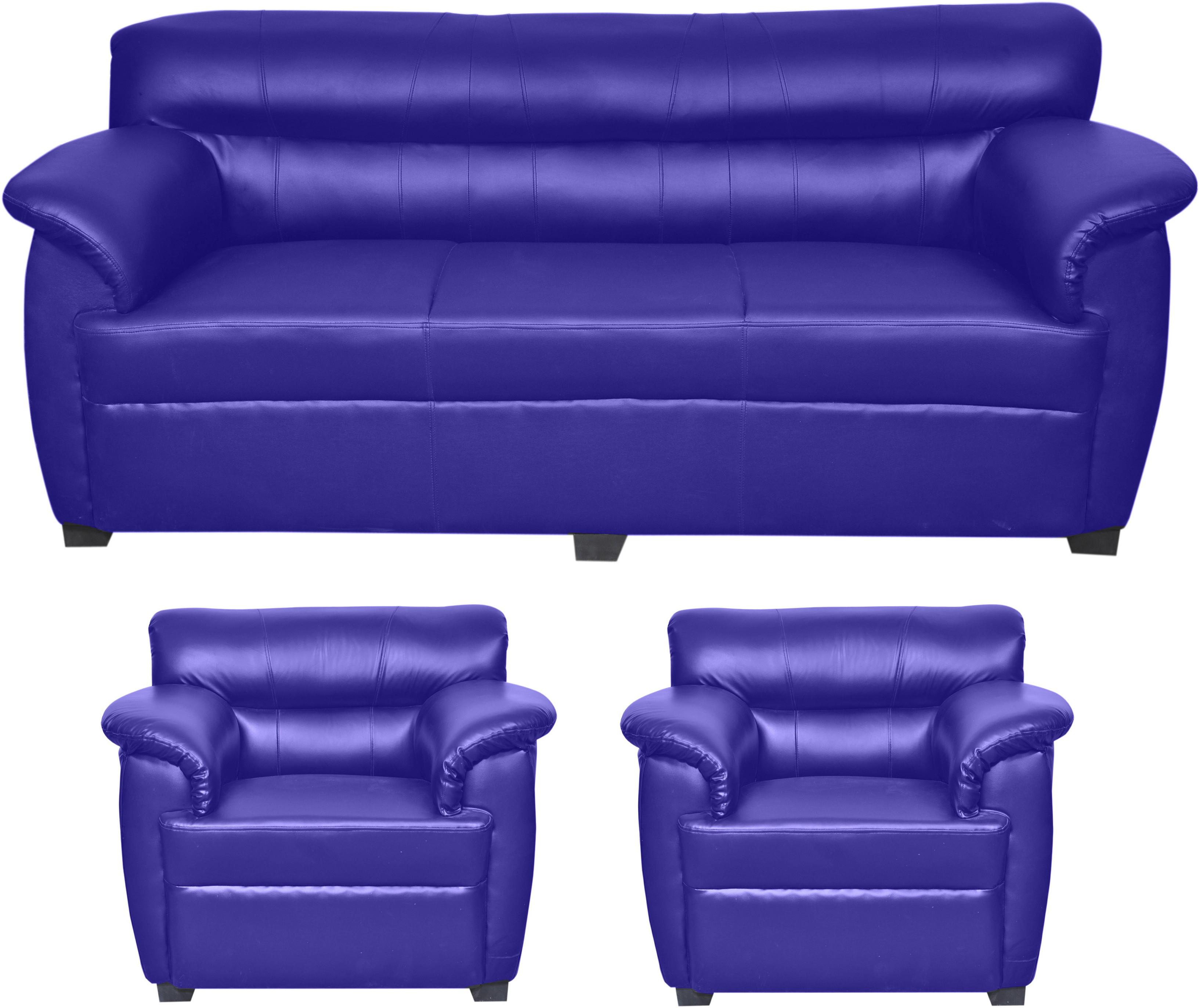 View HOMESTOCK Solid Wood 3 + 1 + 1 Blue Sofa Set(Configuration - Straight) Furniture (HOMESTOCK)