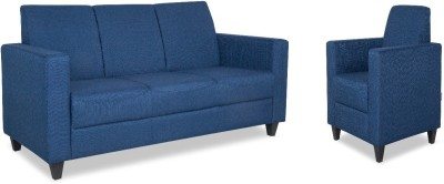 HomeTown Sofa set Fabric 3 + 1 Blue Sofa Set