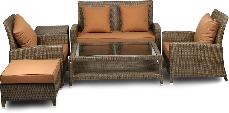 Svelte Classy Metal 2 + 1 + 1 Brown Sofa Set(Configuration - Straight)