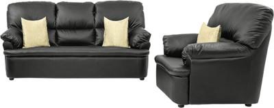 COMFY SOFA Leatherette 3 + 1 + 1 BLACK Sofa Set(Configuration - STRAIGHT)