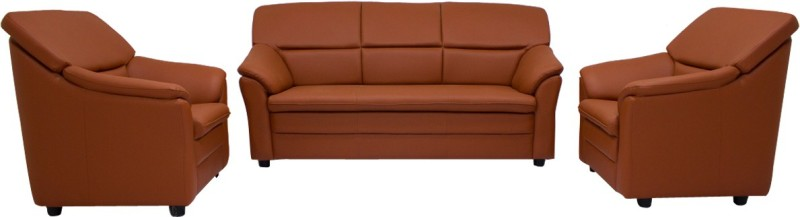 Woodpecker Lily Solid Wood 3 + 1 + 1 Brown Sofa Set(Configuration - U-Shaped)
