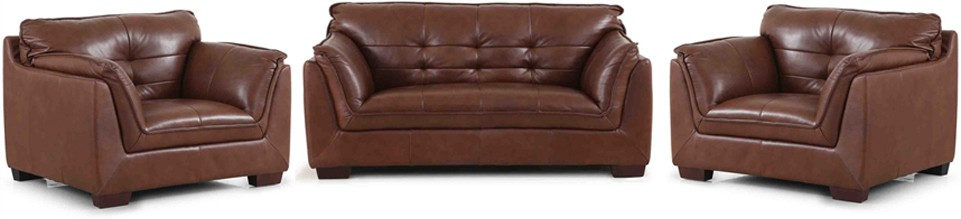 Evok Barclay Sofa Set 3 + 1 + 1 Seater In Dark Ton Leather 3 + 1 + 1 Dark Tan  Sofa Set(Configuration   Straight)