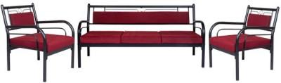 FurnitureKraft Metal with Maroon Mattress Metal 3 + 1 + 1 Black Sofa Set(Configuration - Straight)