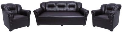TEZERAC Leatherette 3 + 1 + 1 Black Sofa Set