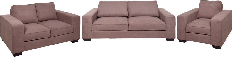 Evok Zaira Sofa Set 3 + 2 + 1 Seater in Earthy Brown Fabric 3 + 2 + 1 Earthy Brown Sofa Set