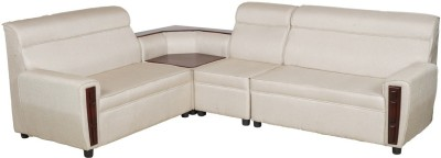 IDEAWOODS Classy Solid Wood 2 + 1 White Sofa Set