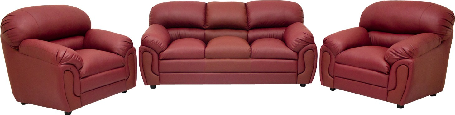 View Wood Pecker Leatherette 3 + 1 + 1 Maroon Sofa Set(Configuration - U-Shaped) Price Online(Wood Pecker)
