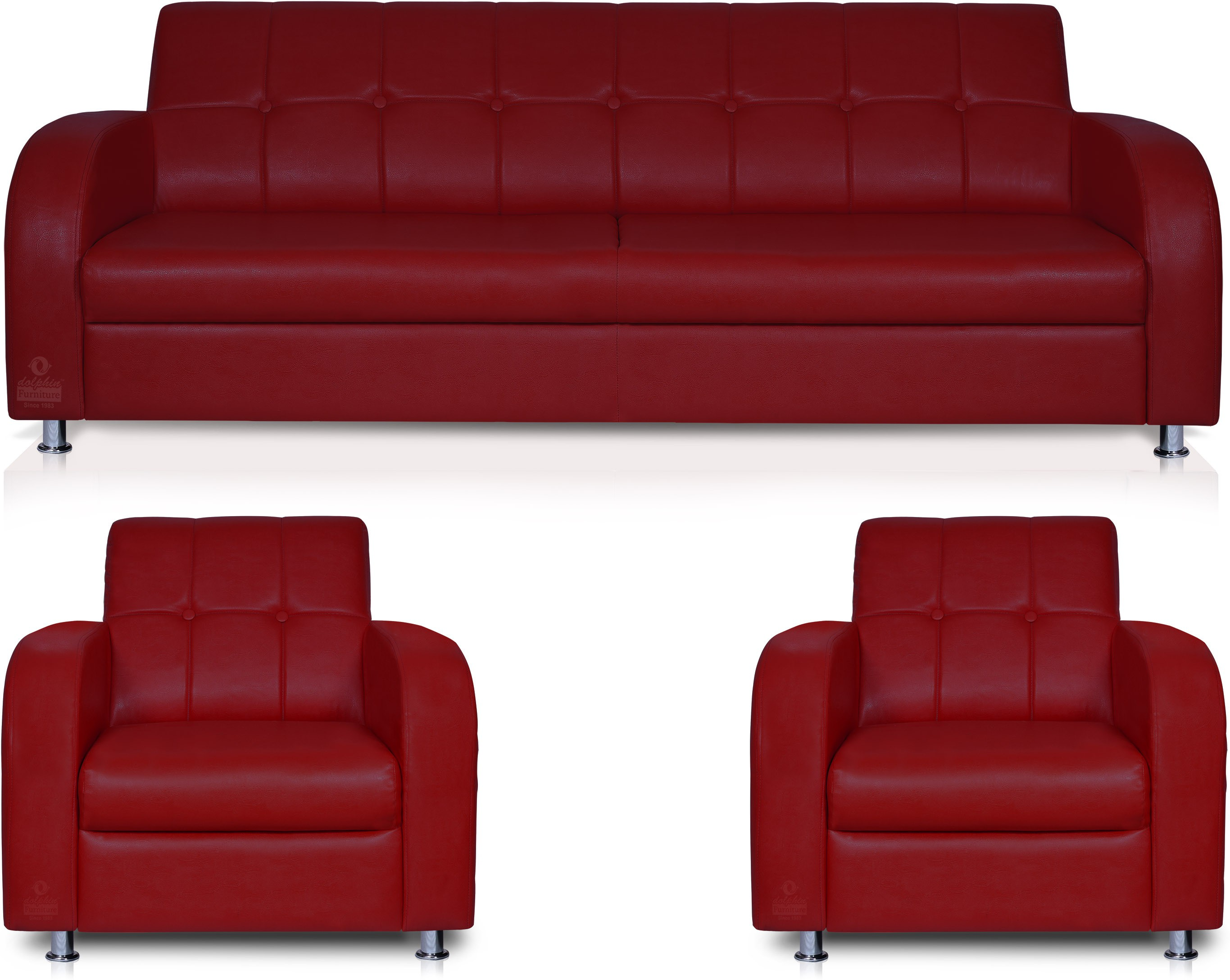 View Dolphin Leatherette 3 + 1 + 1 Maroon Sofa Set(Configuration - Straight) Furniture (Dolphin)