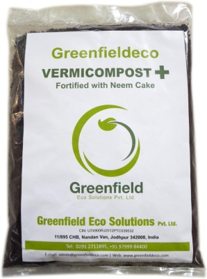 Greenfieldeco 100% Pure & Organic Vermicompost+ Fortified With Neem Cake For Gardening Horticulture Agriculture Plantation Potted Plants Etc. Soil Manure(1.8 kg Powder)