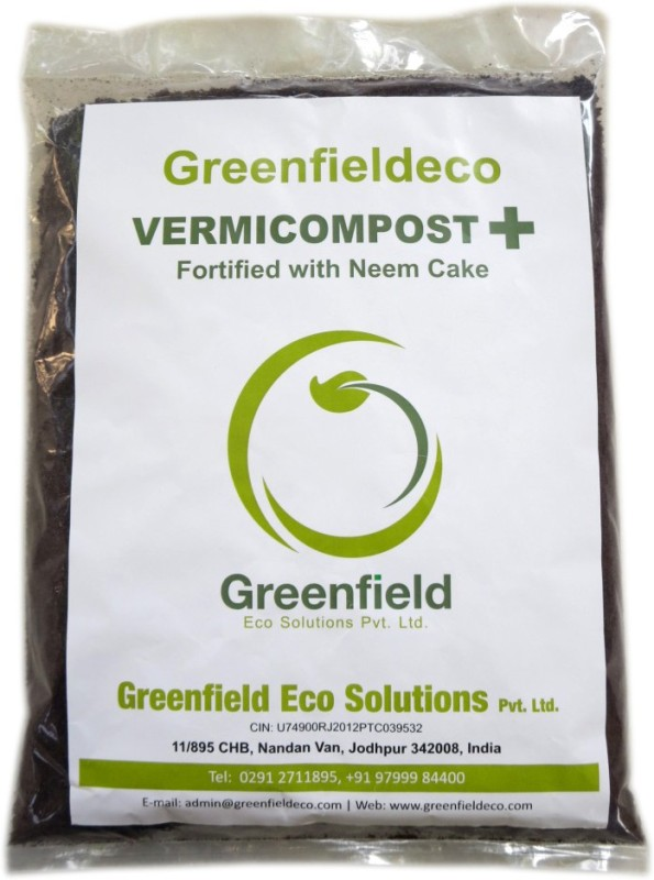 Greenfieldeco 100% Pure & Organic Vermicompost+ Fortified With Neem Cake For Gardening Horticulture Agriculture Plantation Potted Plants Etc. Soil Manure(4.7 kg Powder)