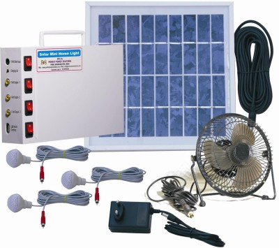 Perfect Power Solutions Solar Home Light 6 Volt+Fan Solar Light Set(Free Standing Pack of 7)