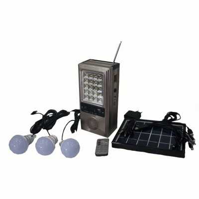Muren 6 in 1 Solar Light cum FM / Music Player cum USB Mobile Charger Solar Light Set