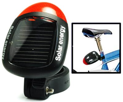 Adraxx Solar Power Bike Bicycle Rear Tail Red 2 LED 4 Mode Light Lamp Solar Light Set