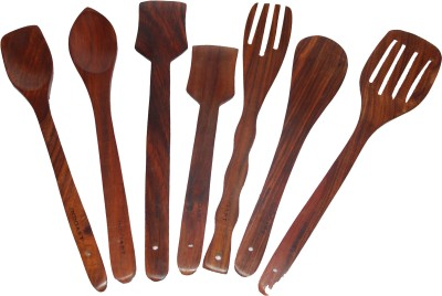Indoart Consisting of 2 bouillon, 2 scrapper, 1 butter spoon, 2 slotted spoon Art No:7SIA-KT16 Wooden Ladle(Brown, Pack of 7)