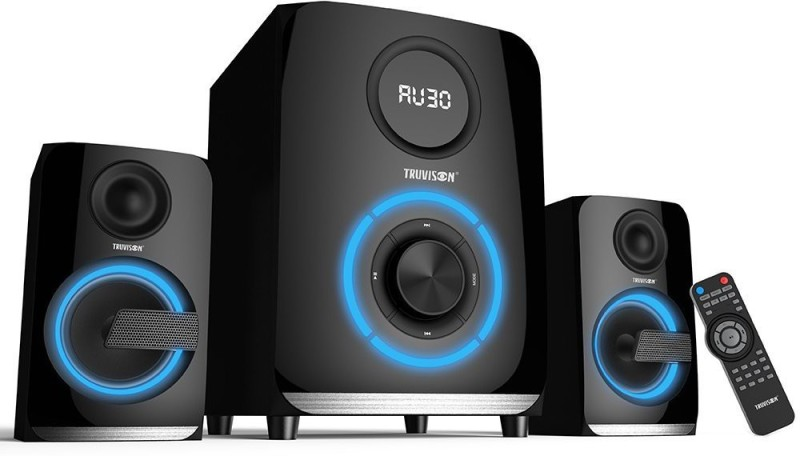 Truvison SE-2089BT Multimedia System USB FM AUX MMC Playback Support Bluetooth Feature Superior Sound Clarity Bluetooth Home Audio Speaker(Black, 2.1 Channel)