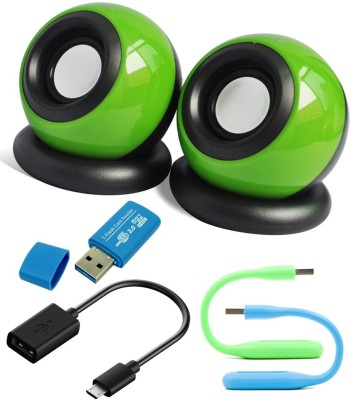Anweshas 5 in 1 Combo of Mini Speakers for Tablet, PC, Desktop, MP3, MP4, Laptop With Card Reader, Otg Cable and Two set of Usb Led Portable Laptop/Desktop Speaker(multicolour, 2.0 Channel)