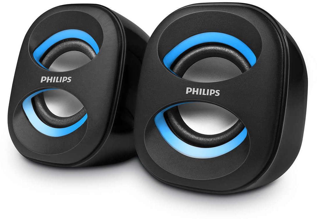 Philips SPA35A/94 Laptop/Desktop Speaker(Black, Blue, 2.0 Channel)