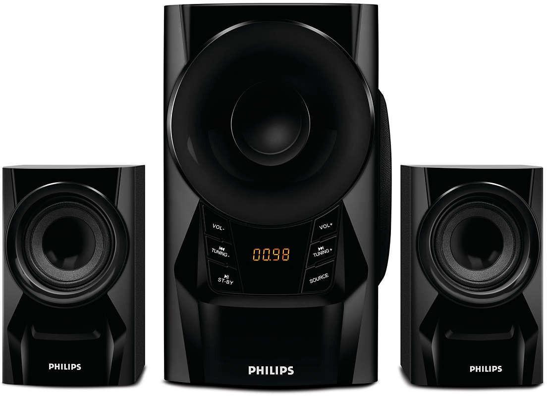 Philips IN-MMS6080B/94 Portable Bluetooth Laptop/Desktop Speaker(Black, 2.1 Channel)