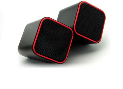 Shrih 2.0 Channel USB Multimedia Portable Laptop/Desktop Speaker(Black Red, 2.0 Channel)