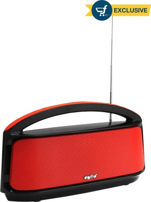 DigiFlip Boom Box Bluetooth Speaker with FM/ USB Support/ LED Display (Black & Red, Single Unit Channel)