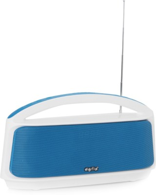 DigiFlip Boom Box Bluetooth Speaker with FM/ USB Support/ LED Display (White & Blue, Single Unit Channel)