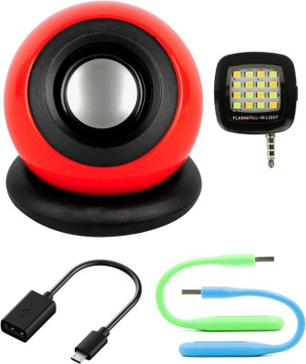 Anweshas 5 in 1 Combo of Portable Speaker for Mobile, Tablet, PC, Laptop With Flashlight, Otg Cable and Two set of Usb Led Portable Mobile/Tablet Speaker(multicolour, NA Channel)
