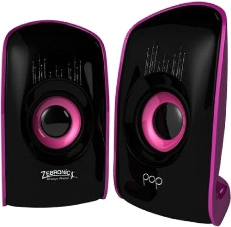 Zebronics Pop 2.0 Multimedia Speaker(Black & Purple, 2 Channel)