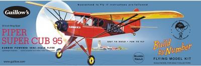 Guillow's Piper Super Cub 95 Semi Scale Rubber Powered Balsawood Model Plane Kit(Multicolor)