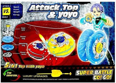 ES-KO Attack Spinning Top (5 in 1 Attack Spinning Top With Yoyo)(Multicolor)