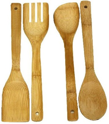 THW Cooking Spatula Kitchen Tools Bamboo Wooden Spoon Set(Pack of 4)