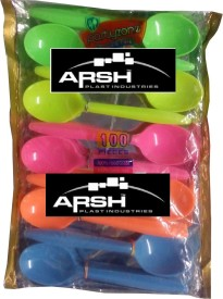 arsh plast ind set of 100 spoon Disposable Plastic Table Spoon Set(Pack of 100)