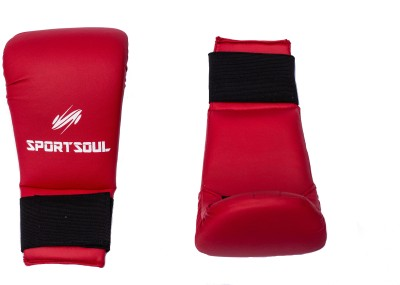 SportSoul MMA Leather Boxing Gloves (M, Red)