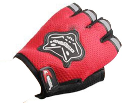 Knighthood 1 Pair of Half Hand Grip for Bike Motorcycle Scooter Riding - Red Colour Driving Gloves (L, Multicolor)