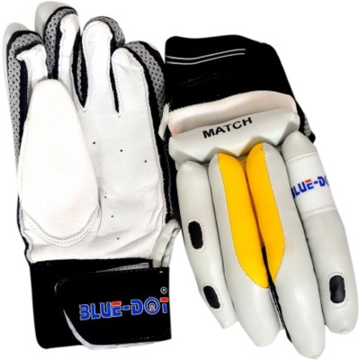 Blue Dot Match Batting Gloves (L, White, Yellow, Black)