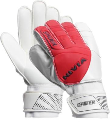 Nivia Spider Football Gloves (L, Red, White)