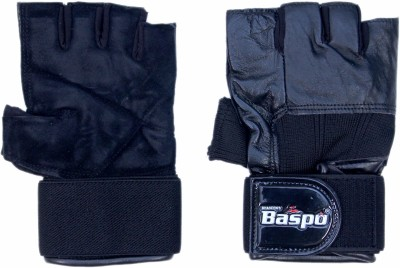Baspo Leather Gym & Fitness Gloves (Free Size, Black)