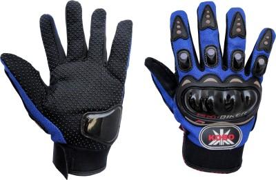 Pro Biker Full Finger Riding Gloves (L, Blue)