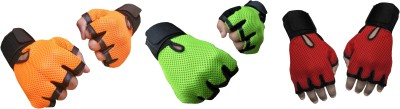 Jack & Ginni Gyming Gym & Fitness Gloves (Free Size, Orange, Green, Red)