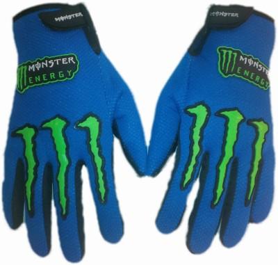 Monster Biker Riding Gloves (L, Blue)