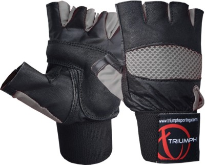 Triumph Master Piece Grey Gym & Fitness Gloves (L, Black, Grey)