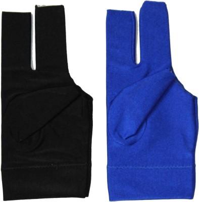 Billiedge Combo Of Black And Blue Nail Cut Billiard Gloves (Free Size, Multicolor)