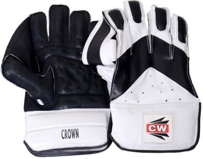 CW Crown Wicket Keeping Gloves (Men, Black, White)