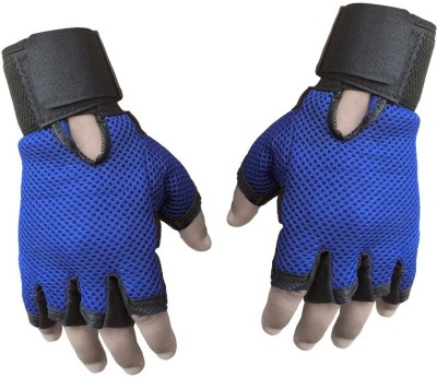 Jack & Ginni 0256 Gym & Fitness Gloves (Free Size, Blue)