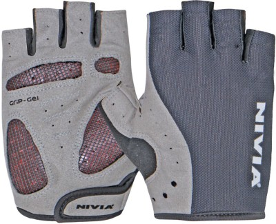 Nivia Grip Gel Small Genuine Leather Gym & Fitness Gloves (S, Black, Grey) at flipkart