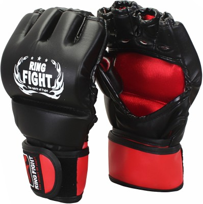 Ring Fight MMA UFC Grappling Gloves Boxing Gloves (L, Black, Red)