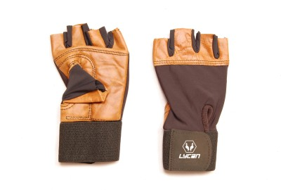 lycan 889 Gym & Fitness Gloves (Free Size, Brown)