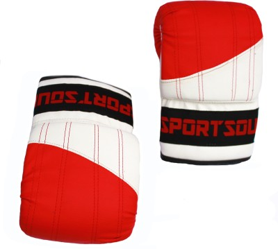 SportSoul Women's Open Thumb Boxing Gloves (M, White, Red)