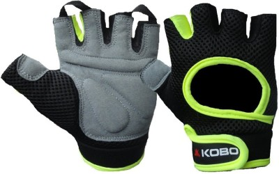 Kobo Weight Lifting Gym & Fitness Gloves (M, Black, Green)