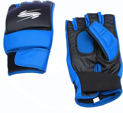 SportSoul MMA Training with Finger ridges Boxing Gloves (L, Black, Blue)